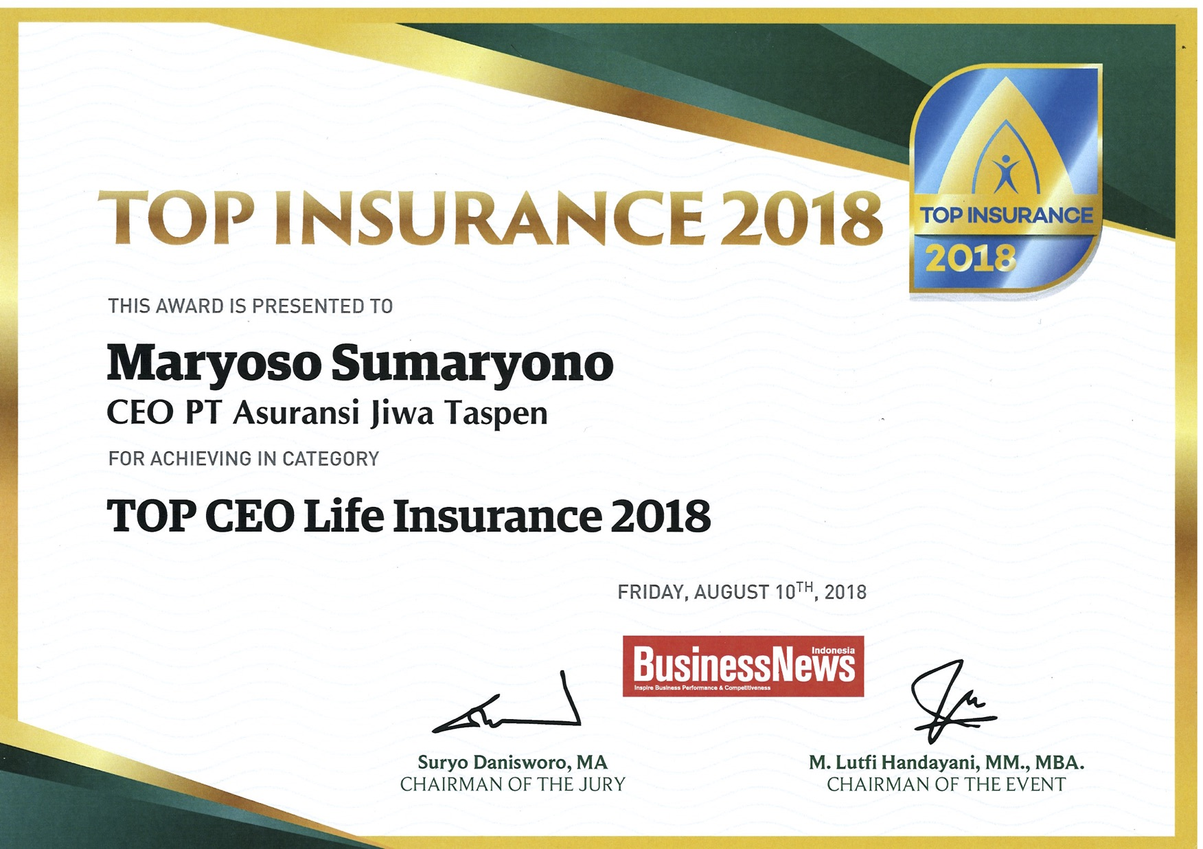 Top CEO Life Insurance 2018 - Business Review
