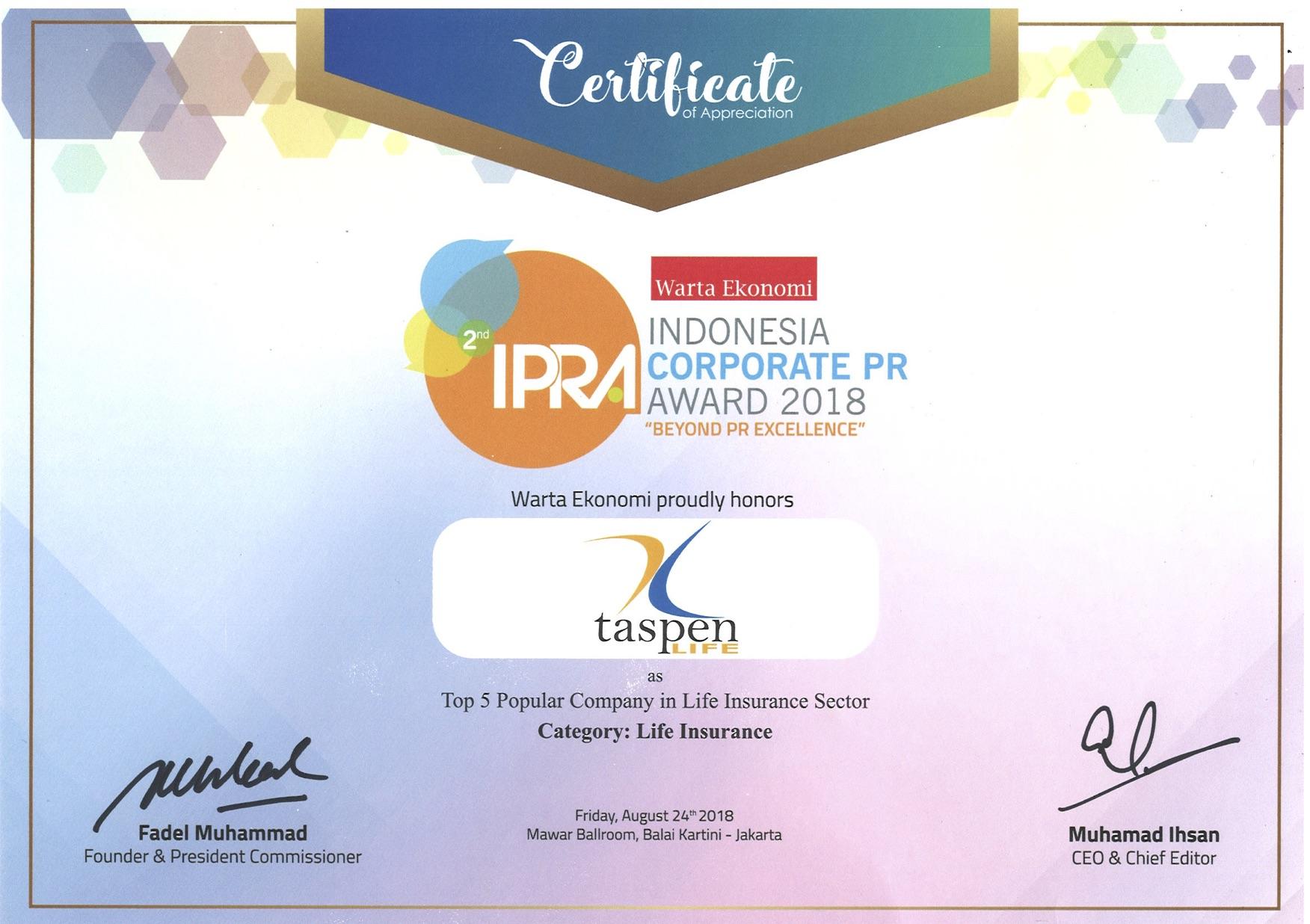 IPRA Top 5 Popular Company - Warta Ekonomi