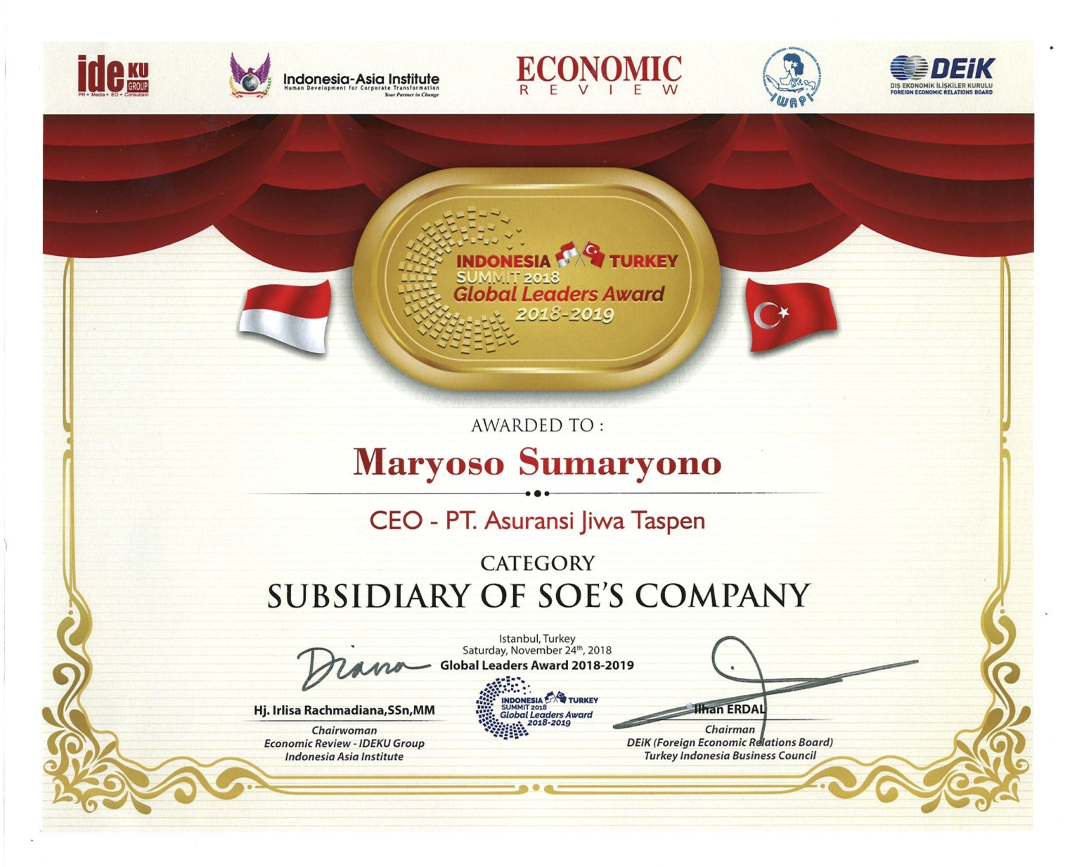 CEO SOE Company Indonesia Turkey Summit Global Leaders Award 2018