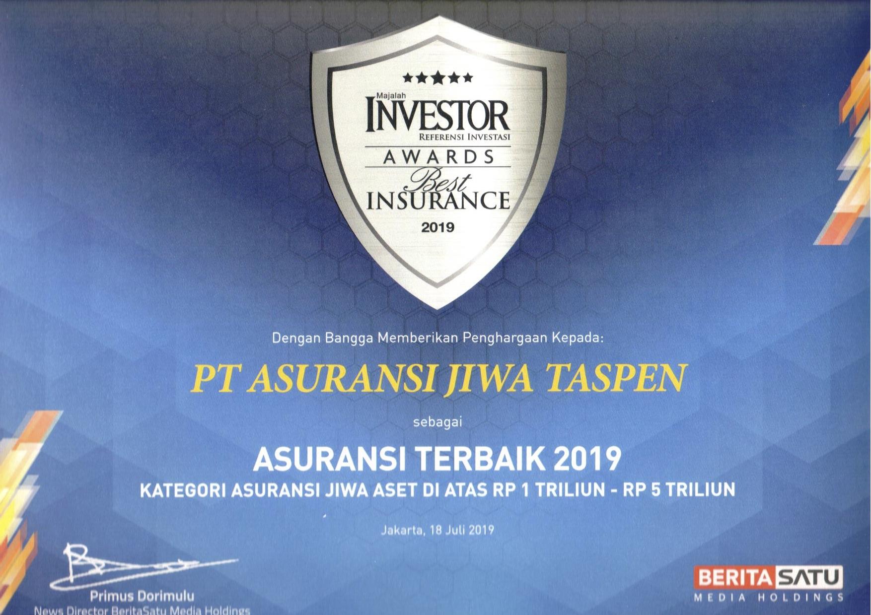 Asuransi Terbaik 2019 Majalah Investor